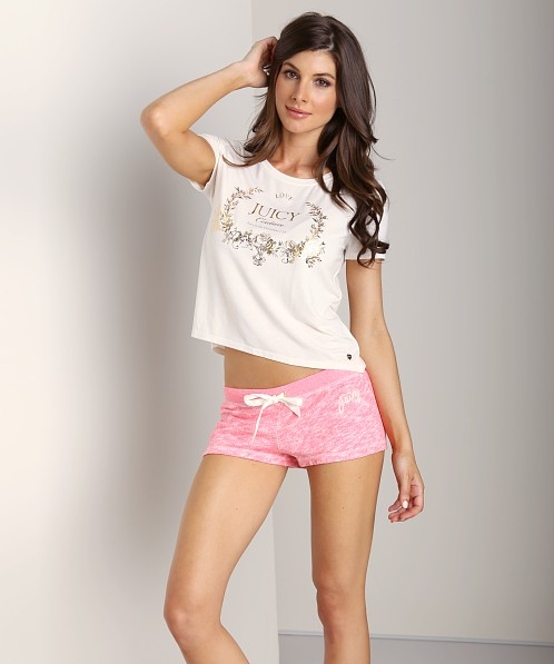 Juicy Couture Marled French Terry Shorts Marled Geranium