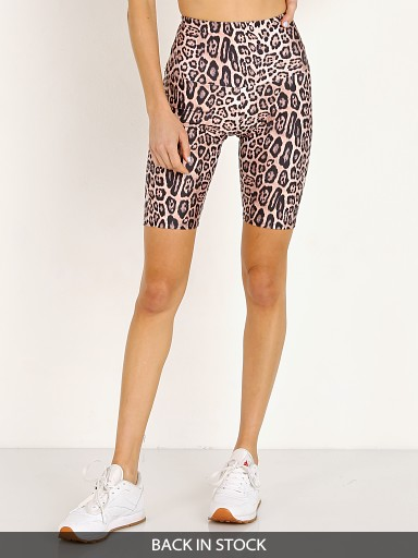 Model in leopard Onzie High Rise Bike Short