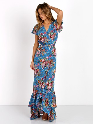Auguste Beach House Frill Wrap Maxi Dress Floral Blue