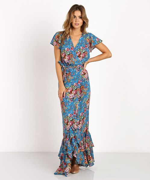 7f8fb21348 Auguste Beach House Frill Wrap Maxi Dress Floral Blue AUG-SM2-16646-LFNB -  Free Shipping at Largo Drive