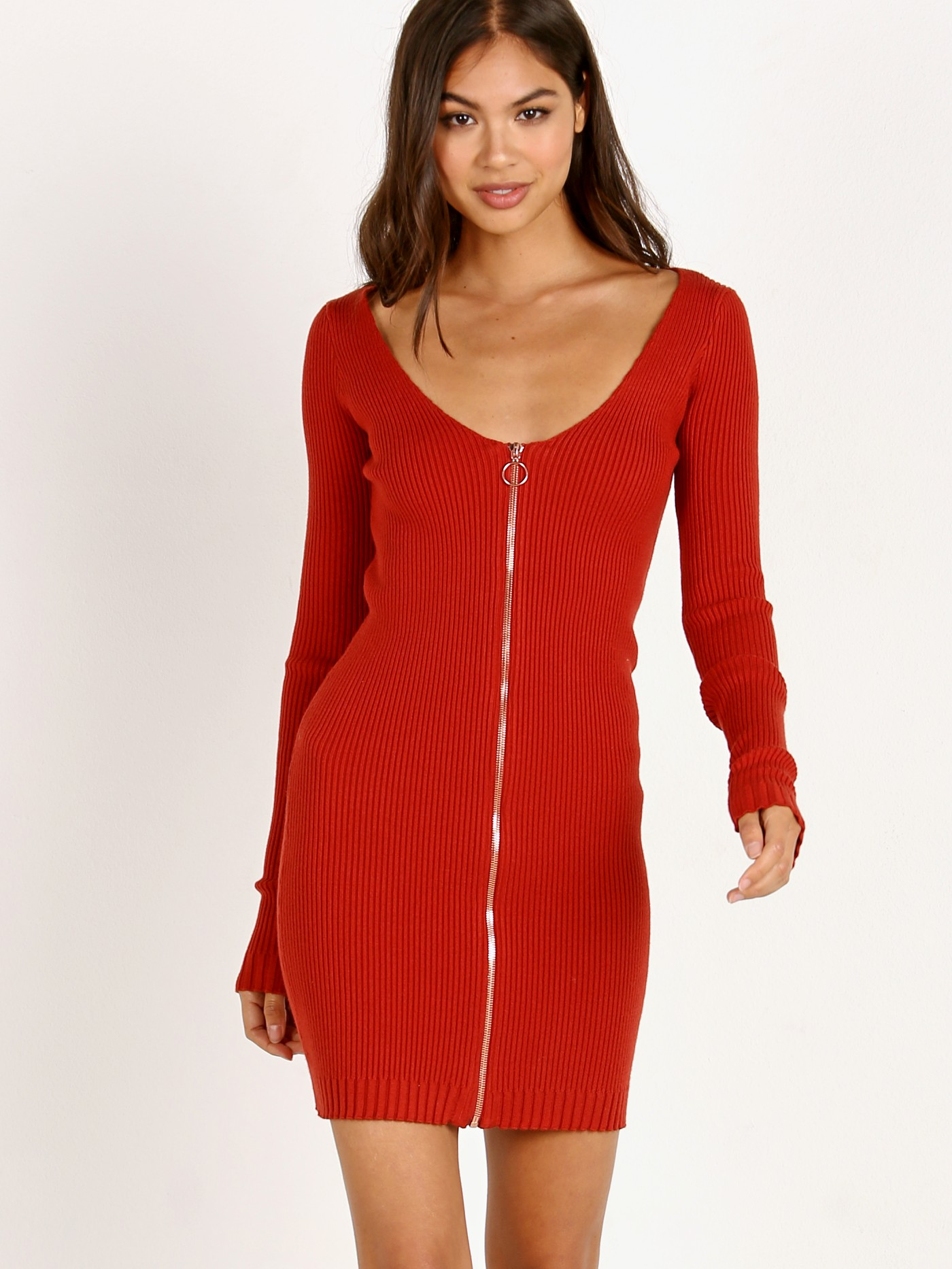 00409e52faba4 For Love & Lemons Knitz Annie Zipper Mini Dress Rust KFA18D403-FA18 - Free  Shipping at Largo Drive