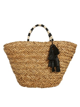 Model in natural-black/bone Fallon & Royce Layla Woven Seagrass Tote