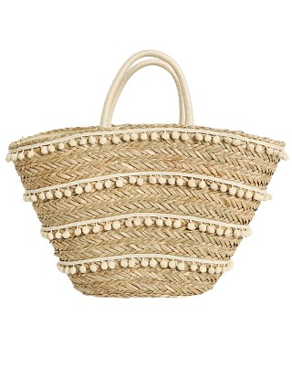 Fallon & Royce Malia Woven Seagrass Tote Natural w/ Bone Poms