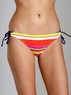 Splendid Circus Stripe Tunnel Bikini Bottom Coral