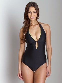 Splendid Solid One Piece Bathing Suit Black