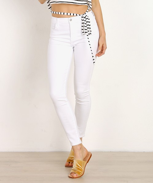 J Brand Alana High Rise Crop Skinny White Sateen
