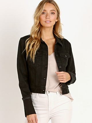 Model in hematite J Brand Harlow Shrunken Jacket