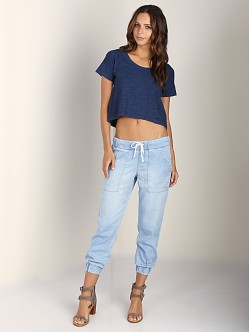 Splendid Indigo Dye Crop Tee Dark Wash