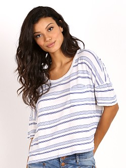 Splendid Blue Ridge Stripe Crop Tee White
