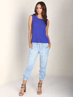 Splendid Drapey Lux Muscle Tank Blue Jewel