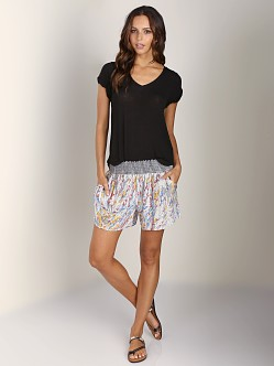 Splendid Drapey Lux V Neck T-Shirt Black