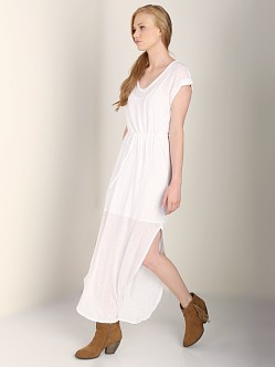 Splendid V Neck Maxi Dress White