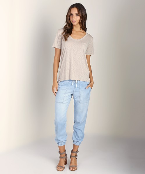 Splendid U Neck Slim Tee Dove Almond