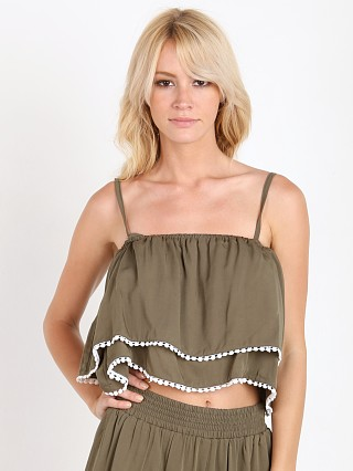 Complete the look: MinkPink Get Lost Ruffle Crop Top Khaki