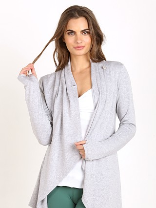 Beyond Yoga Modal Baby Terry Drape Front Cardigan Heather Grey