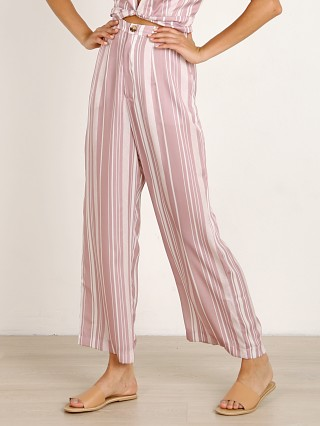 Model in slipper stripe sheen Show Me Your Mumu Kensington Pants