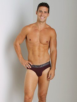 Emporio Armani Striped Waistband Hip Brief Burgundy