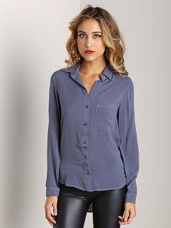 Bella Dahl Pocket Button Down Thunder Grey