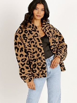 Model in leopard shearling APPARIS Tiarra Teddy Bear Jacket