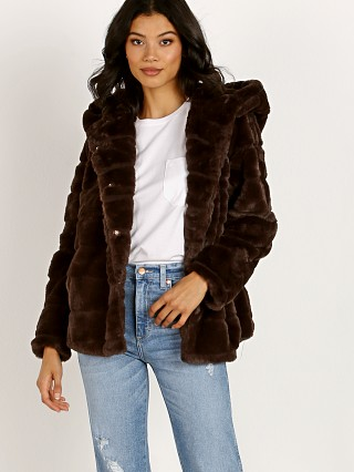 Model in chocolat APPARIS Goldie Faux Fur Jacket