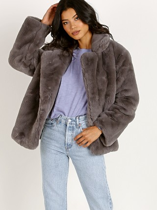 Model in carbon APPARIS Manon Faux Fur Jacket