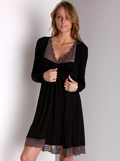Fleur't A Brief Affair Lace Wrap Robe Black