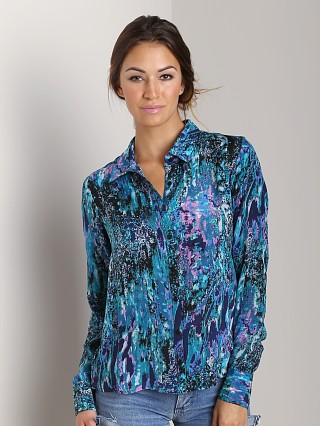 Tolani Valerie Button Down Shirt Turquoise