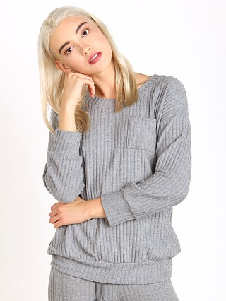 Eberjey Cozy Rib Long Sleeve Tee Heather Grey