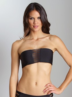 Mikoh Sunset String Triple Loop Bandeau Bikini Top Black