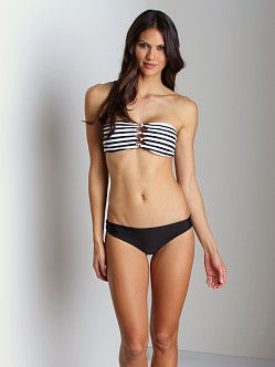Mikoh Monaco Cut Out Bandeau Bikini Black Stripe