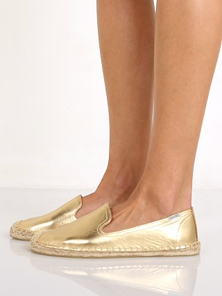 Soludos Smoking Slipper Metallic Leather Gold