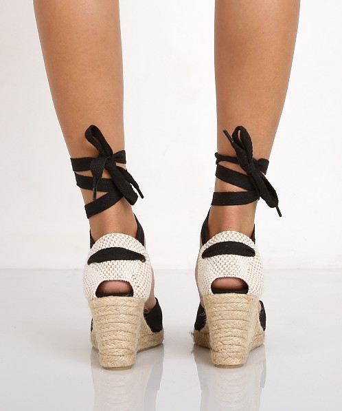 Soludos Tall Wedge Linen Black
