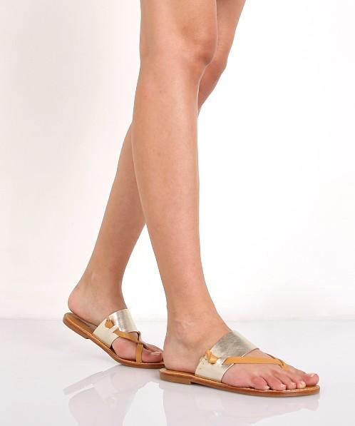 357872c8fdc69 Soludos Slotted Thong Sandal Metallic Platinum FST1300 041 - Free Shipping  at Largo Drive