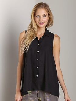 Show Me Your Mumu Carolyn Shirt Silky Black Satin