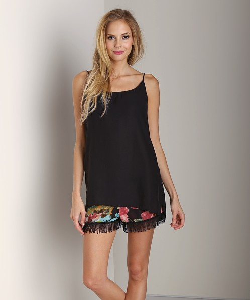 Show Me Your Mumu Estella Topslip Black Silky Satin