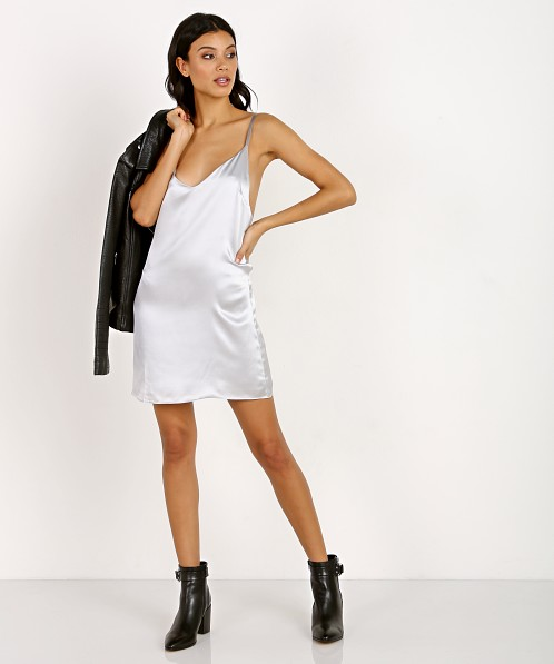Only Hearts Silk Slip Dress Silver 30365H