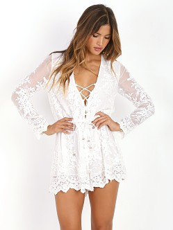 Zimmermann Essence Silk Veil Playsuit White