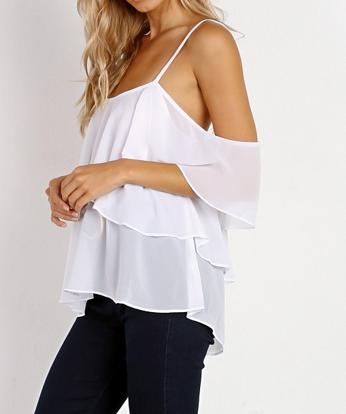 Show Me Your Mumu Romance Ruffle Top White Chiffon