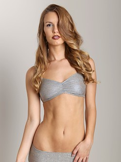 Only Hearts Metallic Jersey Ruched Bralette Khaki