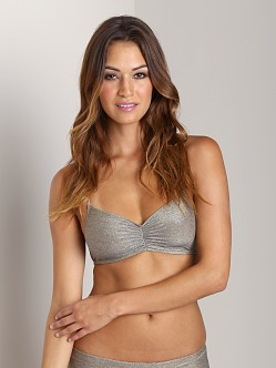 Only Hearts Metallic Jersey Ruched Bralette Goldstone