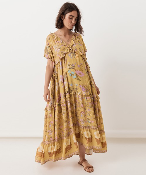 45ef817551d6 Spell & The Gypsy Wild Bloom Gown Mustard 192111E21 - Free Shipping at  Largo Drive