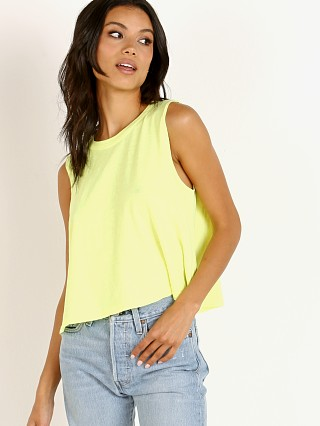 Model in neon yellow LNA Clothing Cape Tank