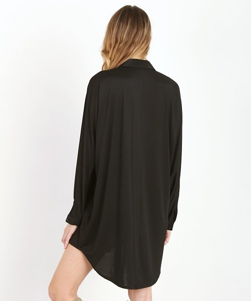 State of Being Silk Squarie Shirt Dress Black
