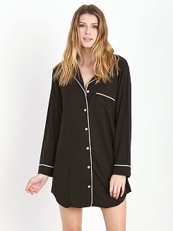 Eberjey Gisele Sleep Shirt Black/Sorbet Pink