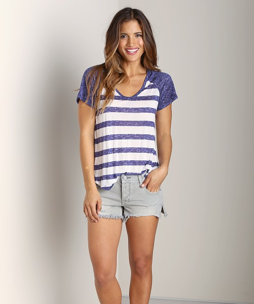 Splendid Venetian Heathered Stripe T-Shirt White/Navy