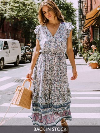 Spell & The Gypsy Dahlia Midi Dress Dusty Blue