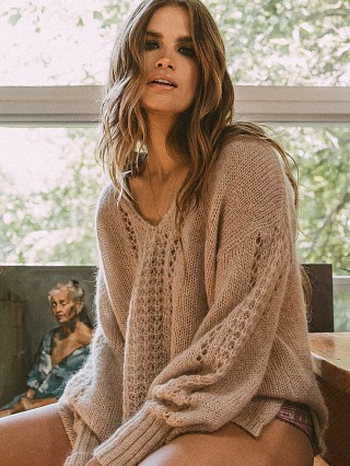 Spell & The Gypsy Knit V-Neck Sweater Stone