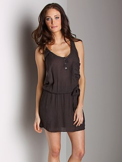 Bella Dahl Button Front Henley Dress Soft Black