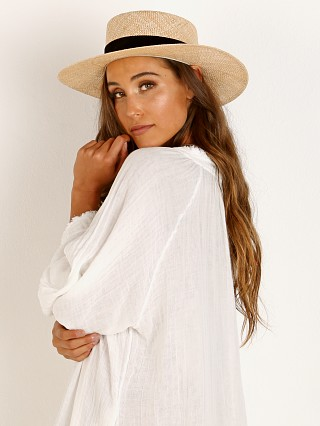 Janessa Leone Jodi Boater Hat Natural