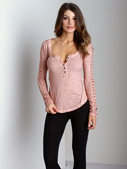 Free People Shell Stitch Long Sleeve Henley Blush